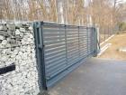 Moderní posuvná brána z ocelových profilů MODERN, vzor AW.10.104, barva šedá grafitová RAL 7016