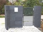 Moderní vchodová branka z ocelových profilů MODERN, vzor AW.10.105, barva šedá grafitová RAL 7016