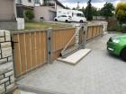 Dřevoplastová vchodová branka FOREST, dekor Cedar, rámy a nosníky ocelové - barva šedá RAL 7030